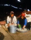 Bedouin woman making dough for bread in her tent near Madaba, Jordan