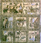 Orpheus and the animals, goats, fishing and farming scenes, third century, Roman mosaic, Tripoli, Libya