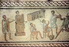 Musicians including an organist, trumpeters, horn blowers, third century, Roman mosaic, Tripoli, Libya