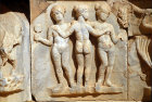 Libya, Sabratha, 2nd century AD, detail of the three Graces, relief at stage front