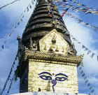 Close up of eyes on Buddhist stupa, Swayambhunath, Nepal