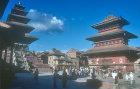 Nyatapola temple, 1701, left, and Bhairavnath temple, 1717, right, Taumadhi Square, Bhaktapur, Nepal