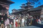 Old Royal Palace, detail, sixteenth century, and market, Kathmandu, Nepal
