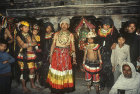 Traditional dancers in Bhotebahal courtyard, Kathmandu, Nepal