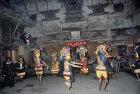Masked dancers in Bhotebahal courtyard, Kathmandu, Nepal