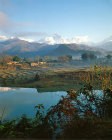 Nepal, Pokhara, Annapurna south and Macchapuchare Annapurna