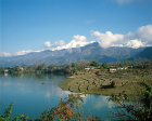 Nepal, paddy fields on edge of Lake Pokhara Annapurna south and Macchapuchare