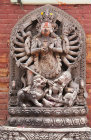 "Figure of Durga, ""the invincible"", slayer of the Buffalo Demon, on the Lion Gate, Durbar Square, Bhaktapur, Nepal"