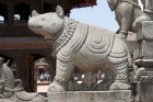 One of a pair of hippos on steps to Siddhi Lakshmi Temple, seventeenth century, constructed of stone, Durbar Square, Bhaktapur, Nepal