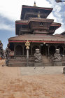 Guardian statues in front of Dattatreya Temple, Durbar Square, Bhaktapur, Nepal