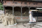 Painted lion figure guarding temple, Bhaktapur, Nepal