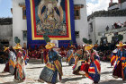 Dancers in traditional Tibetan costume, Tiji Festival, Lomanthang, Upper Mustang, Nepal