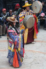 Drummers in traditional costume, Tiji Festival, Lomanthang, Upper Mustang, Nepal