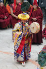 Drummer in traditional costume, Tiji Festival, Lomanthang, Upper Mustang, Nepal