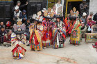 Dancers in traditional costume, Tiji Festival, Lomanthang, Upper Mustang, Nepal