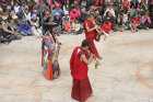 Traditional dancer and musicians, Tiji Festival, Lomanthang, Upper Mustang, Nepal