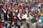 Fur-hatted drummers, Tiji Festival, Lomanthang, Upper Mustang, Nepal