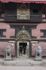 Lion figures guarding entrance, Durbar Square, Bhaktapur, Nepal
