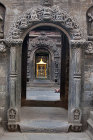 Elaborately carved stone doorway to shrine, Durbar Square, Bhaktapur, Nepal