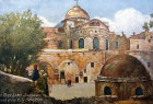 Church of the Holy Sepulchre, rear view, Jerusalem, old postcard, at that time Palestine, now Israel