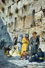 Jews at the Western Wall, circa 1906, old postcard, Jerusalem, at that time Palestine, now Israel