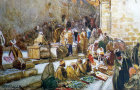 Forecourt of the Church of the Holy Sepulchre, merchants selling their wares, watercolour circa 1906, by John Fulleylove, Jerusalem, Palestine