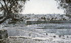 South eastern end of city wall, seen across Kidron Valley from Mount of Olives, 1923, old postcard, Jerusalem, at that time Palestine, now Israel