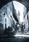 Old street leading up to Golgotha, circa 1910, old postcard, Jerusalem, Palestine