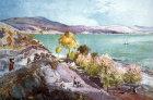 Sea of Galilee, shore line near Capernaum, painted by John Fulleylove, circa 1908,  Palestine