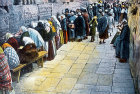 Jews at the Wailing Wall, circa 1920, old postcard, Jerusalem, at that time Palestine, now Israel