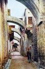 Via Dolorosa, circa 1906, old postcard, Jerusalem, Palestine