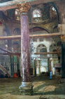 El Aksa mosque interior, looking east, Byzantine columns, painted by John Fulleylove, circa 1908, Jerusalem, at that time Palestine, now Israel