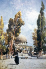 Dome of the Rock and ablution fountain from south, painted by John Fulleylove, circa 1908, Jerusalem, at that time Palestine, now Israel