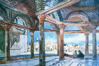 Dome of the Chain, interior, Temple Area, painted by John Fulleylove, circa 1908, Jerusalem, at that time Palestine, now Israel