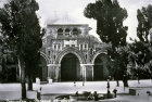 El Aksa Mosque and fountain, seen from Temple area, circa 1920, old postcard, Jerusalem, at that time Palestine, now Israel