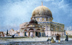 Dome of the Rock with Dome of the Chain in foreground, painted by John Fulleylove, circa 1908, Jerusalem, at that time Palestine, now Israel