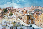 West side of the Temple Area, painted by John Fulleylove, circa 1908, Jerusalem, at that time Palestine, now Israel