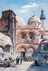 Church of the Holy Sepulchre, painted circa 1906, old postcard, Jerusalem, at that time Palestine, now Israel