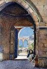 Temple Mount seen through archway, 1926 watercolour by Pierre Vignal, Jerusalem, Palestine
