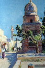 Sabil Qaitbay, fountain built by Egyptian sultan Qaitbay in 1482, paintingby Pierre Vignal, 1926, Temple Mount, Jerusalem, at that time, Palestine, now Israel