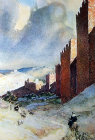 City walls looking south, painting by Pierre Vignal, 1926, Jerusalem, at that time, Palestine, now Israel