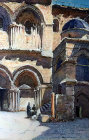 Church of the Holy Sepulchre, entrance, painting by Pierre Vignal, 1926, Jerusalem, at that time Palestine, now Israel