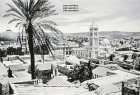 Tower of Church of the Redeemer, dome of Church of the Holy Sepulchre beyond palm trees, old postcard, Jerusalem, Palestine