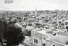 Tower of Church of the Redeemer, dome of Church of the Holy Sepulchre on right, old postcard, Jerusalem, Palestine