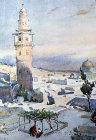View from Mount Zion, 1926 watercolour by Pierre Vignal, Jerusalem, Palestine