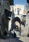 Street in Jerusalem, 1026 watercolour by Pierre Vignal, Jerusalem, Palestine