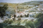 Mount of Olives, Garden of Gethsemane and Russian Church seen across the Kidron Valley, Jerusalem, Palestine,