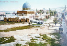 Dome of the Rock and Temple Mount area seen from the west, circa 1906, Jerusalem, old postcard, at that time Palestine, now Israel