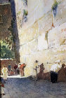 Jews at the Western Wall, 1926 watercolour by Pierre Vignal, Jerusalem, Palestine
