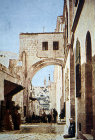 Ecce Homo arch, Via Dolorosa, circa 1908, old postcard, Jerusalem, at that time Palestine, now Israel